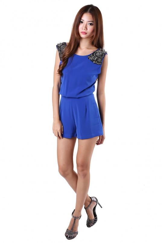 08dd4a4b54b Amabel Embellished Romper in Blue