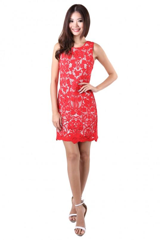 f6d762c825d Yuna Lace Dress in Red