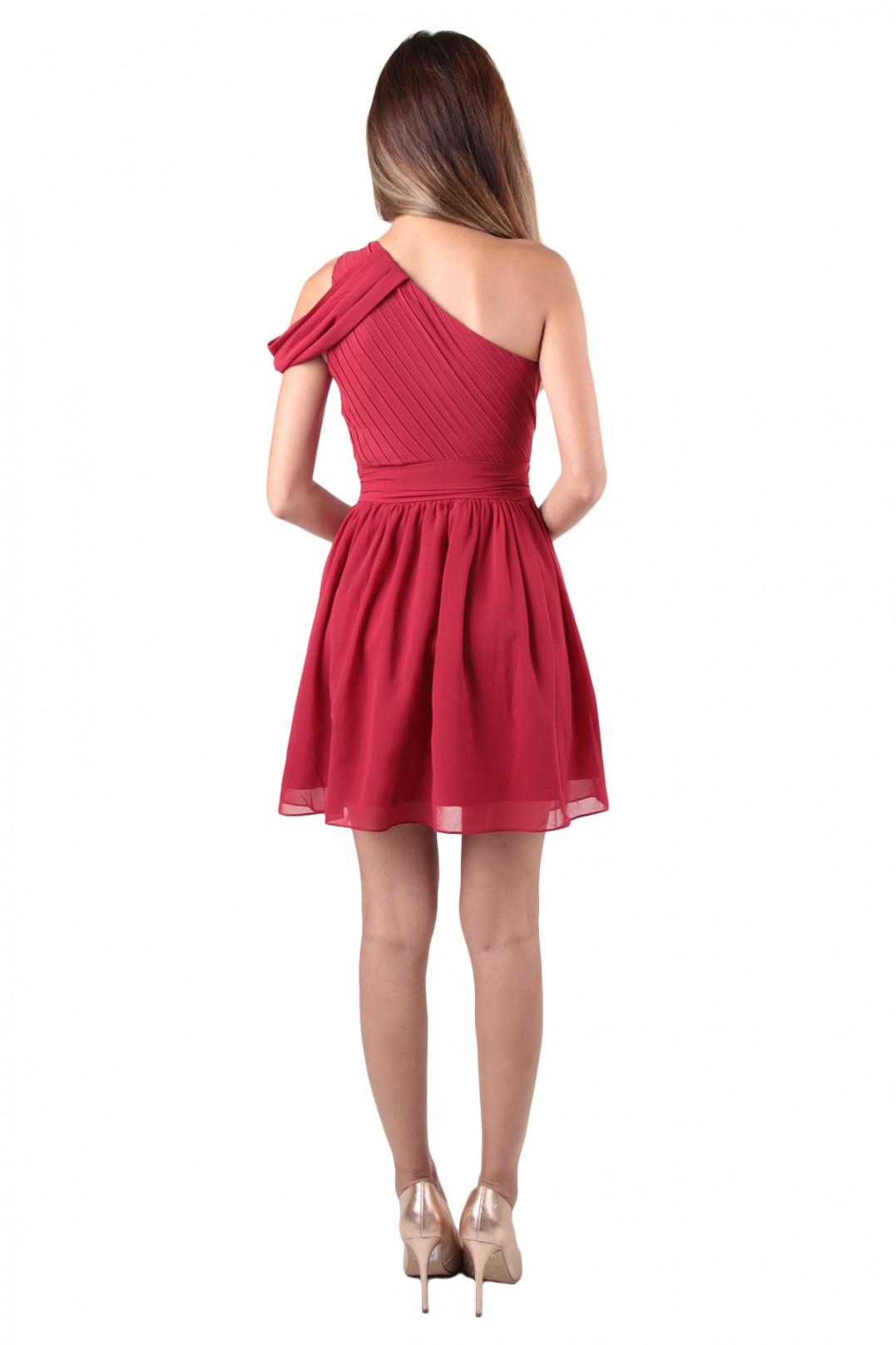 Orange Chiffon Its Fashion Metro Blouses Dark Brown: Quince Toga Dress In Burgundy Red