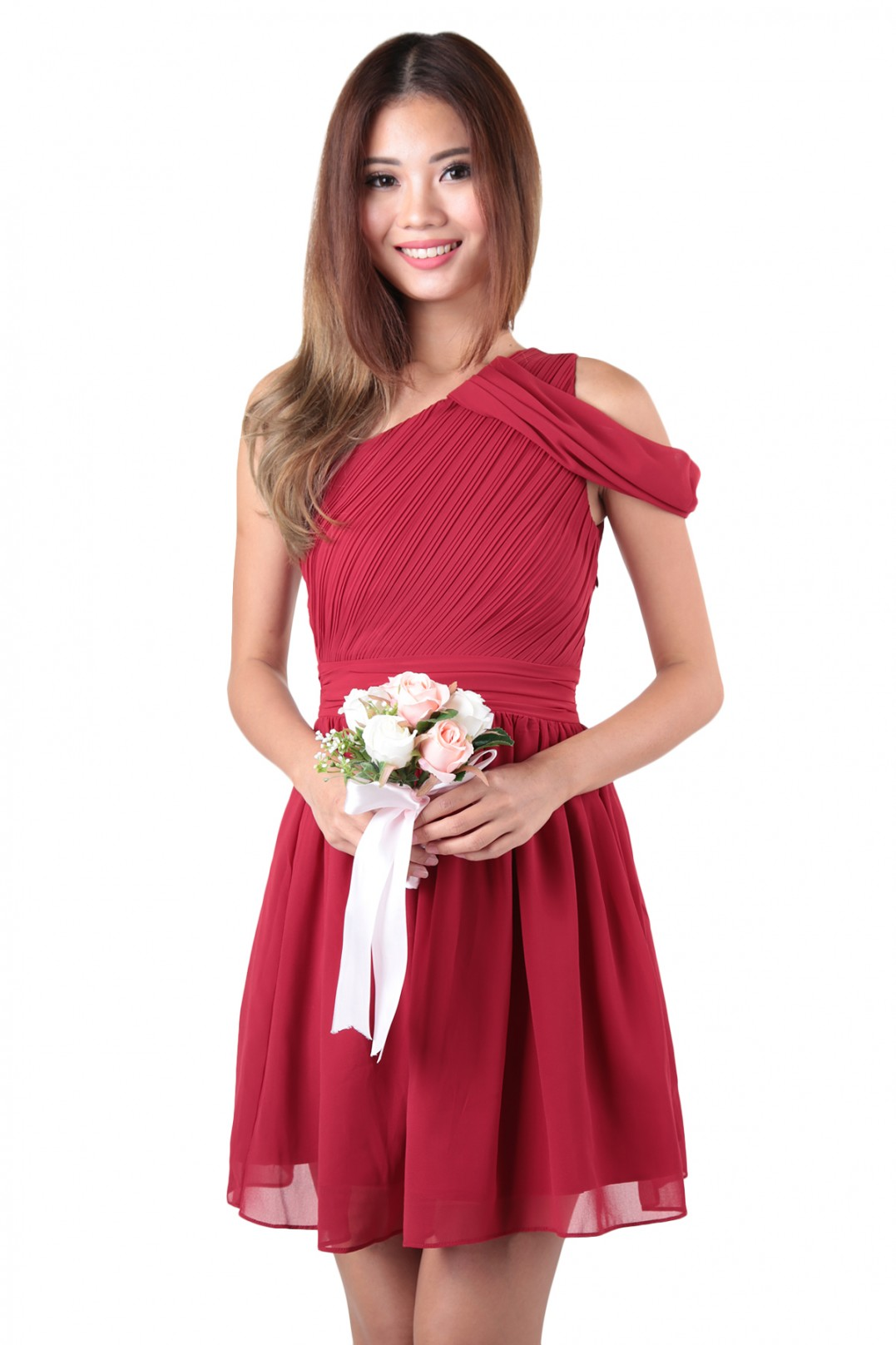 Quince Toga Dress In Burgundy Red Mgp