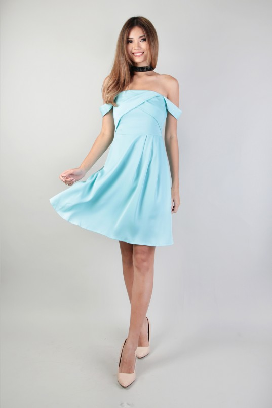 026113beb6ab Nellie Off Shoulder Dress in Tiffany Mint