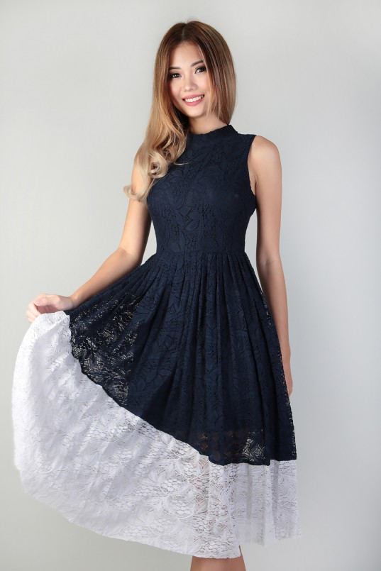 Camellia Lace Midi Dress in Navy dfc53bfe8