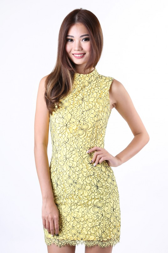 5b35388535 Lenora Lace Dress in Yellow