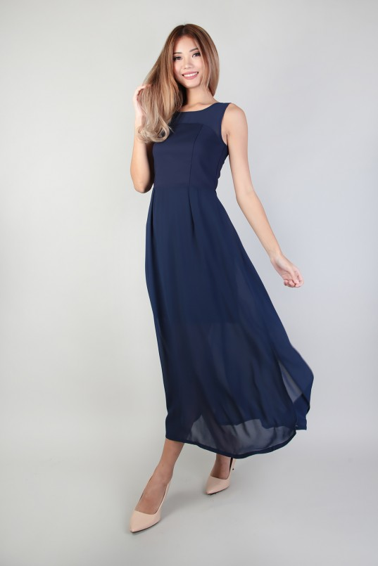 Ellen Sou Midi Dress in Navy bc97c6af5