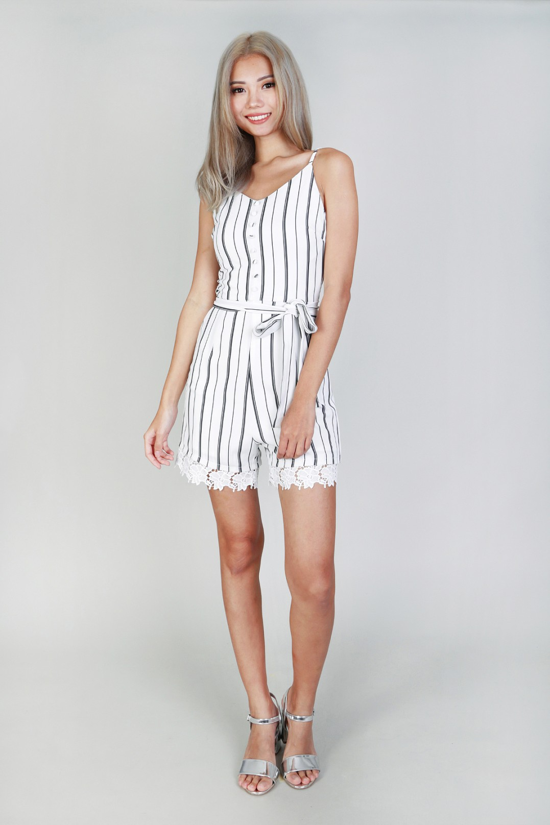 0acaf11e22 Lindsey Stripe Playsuit in White - MGP