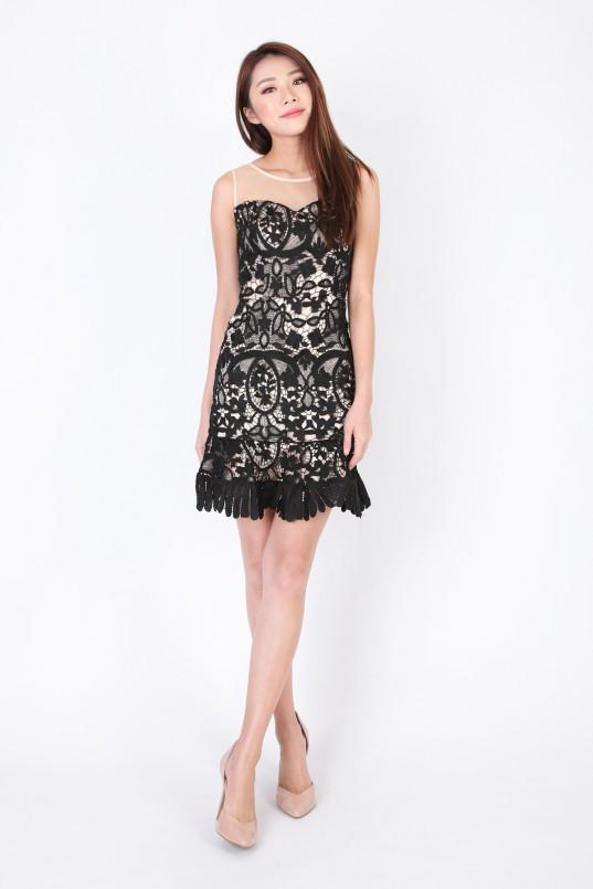 Hattie Crochet Dress in Black 453d64686