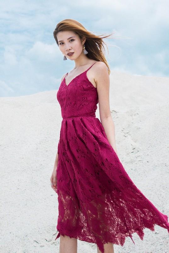 ab3e0161231 Keilyn Crochet Dress in Magenta