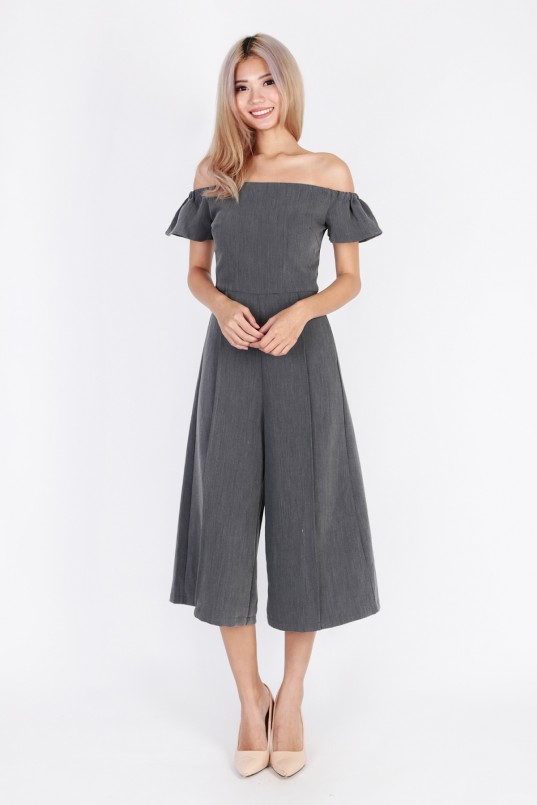 103b42ccbf Velma Off Shoulder Jumpsuit in Heather Grey