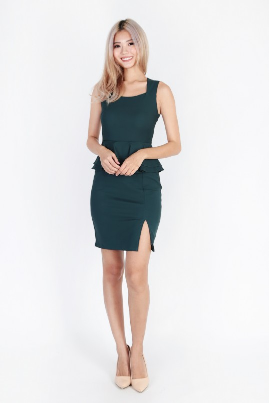 bf8bd046003 Jenire peplum dress in forest green mgp jpg 537x805 Forest peplum