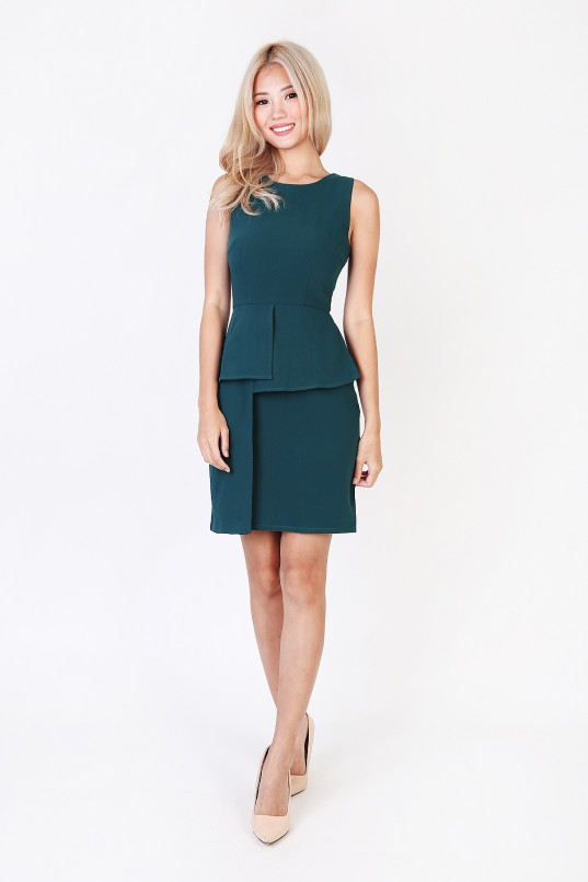 06c5eefa00a Delphine peplum dress in forest green mgp jpg 537x805 Forest peplum