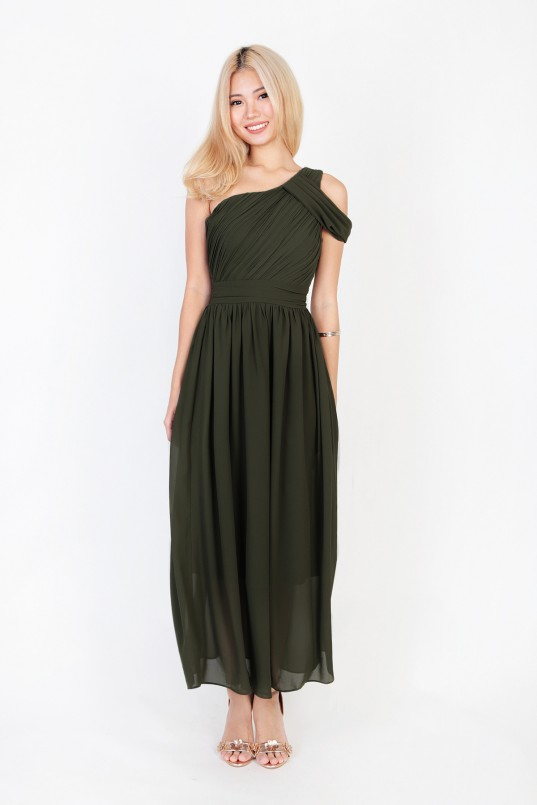 Keyers Drape Toga Dress in Olive - MGP