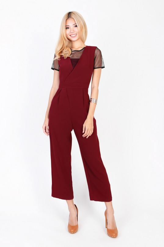 4e1fe3ac649 Aerin Mesh Jumpsuit in Wine Red