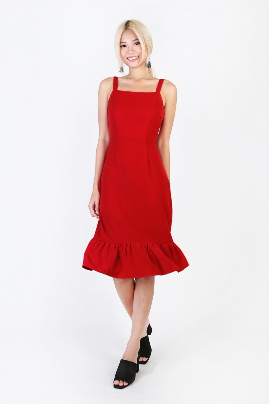 Candice Flounce Midi Dress in Red