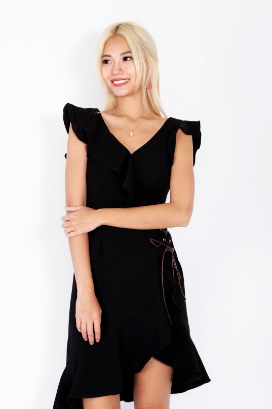 34a9208a2e Daenerys Ruffle Dress in Black