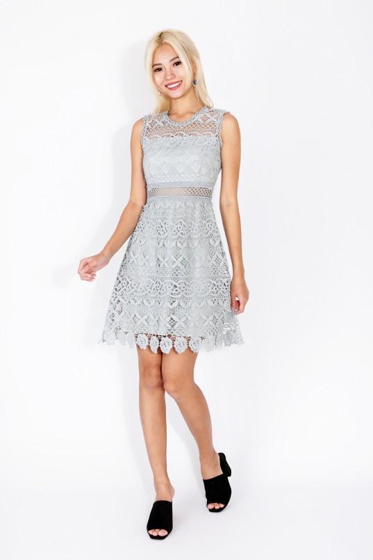 6277c05910a6 Lenda Crochet Dress in Grey