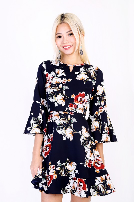 259d01643a42b Evine Floral Dress in Navy