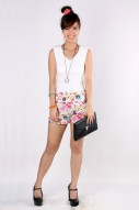 Poppy Floral Shorts in White