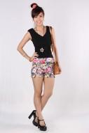 Poppy Floral Shorts in Black