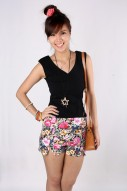 Poppy Floral Shorts in Black