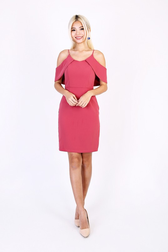 8dbb6e61f9 Maisy Cold Shoulder Dress in Rose Pink