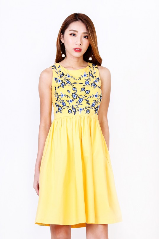 4c14bf02a2 Rin Floral Embroidered Dress in Yellow