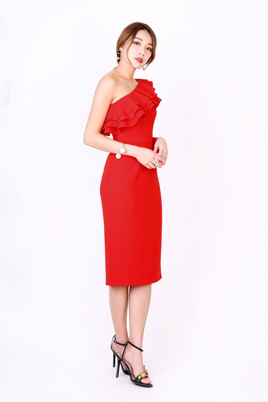 4c7888d127 Anastasia Ruffle Toga Dress in Red