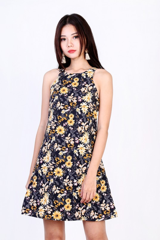 6fa127a602 Ginny Floral Dress in Dark Navy