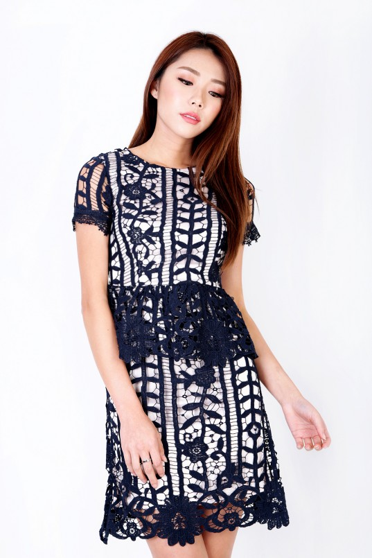 2e45328b01 Melyn Crochet Dress in Navy