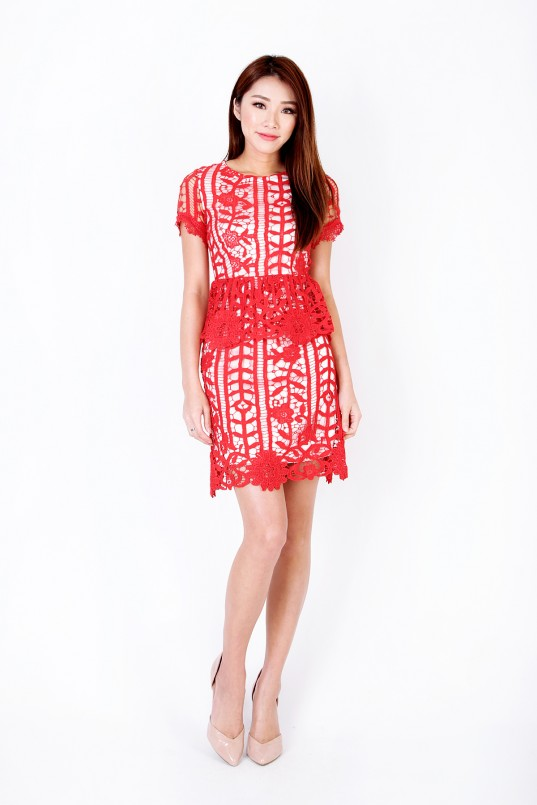 Melyn Crochet Dress in Red c986930f8
