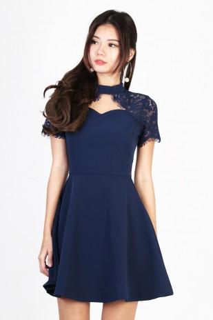 Navy Blue Lace Eyelet Dress