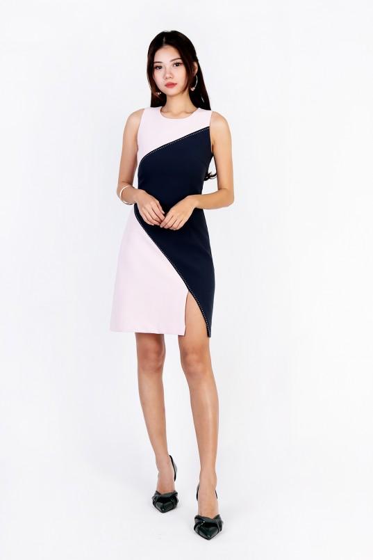 321289f55118 Ardien Colourblock Dress in Pink