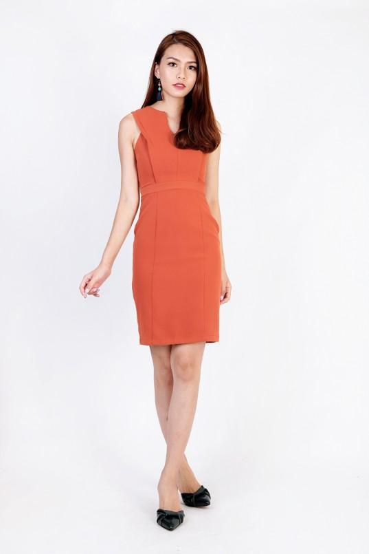 Riley V Sheath Dress In Rustic Orange