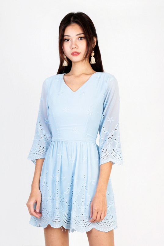 cfbfb18a Vina Embroidery Romper in Powder Blue