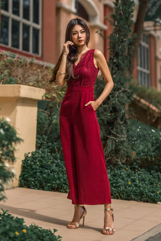 9224bf867aa Louella Lace Jumpsuit in Wine Red