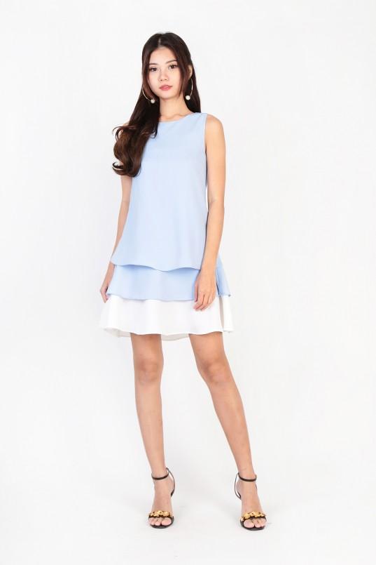 4fdb4651db27 Ingrid Colourblock Layer Dress in Sky Blue