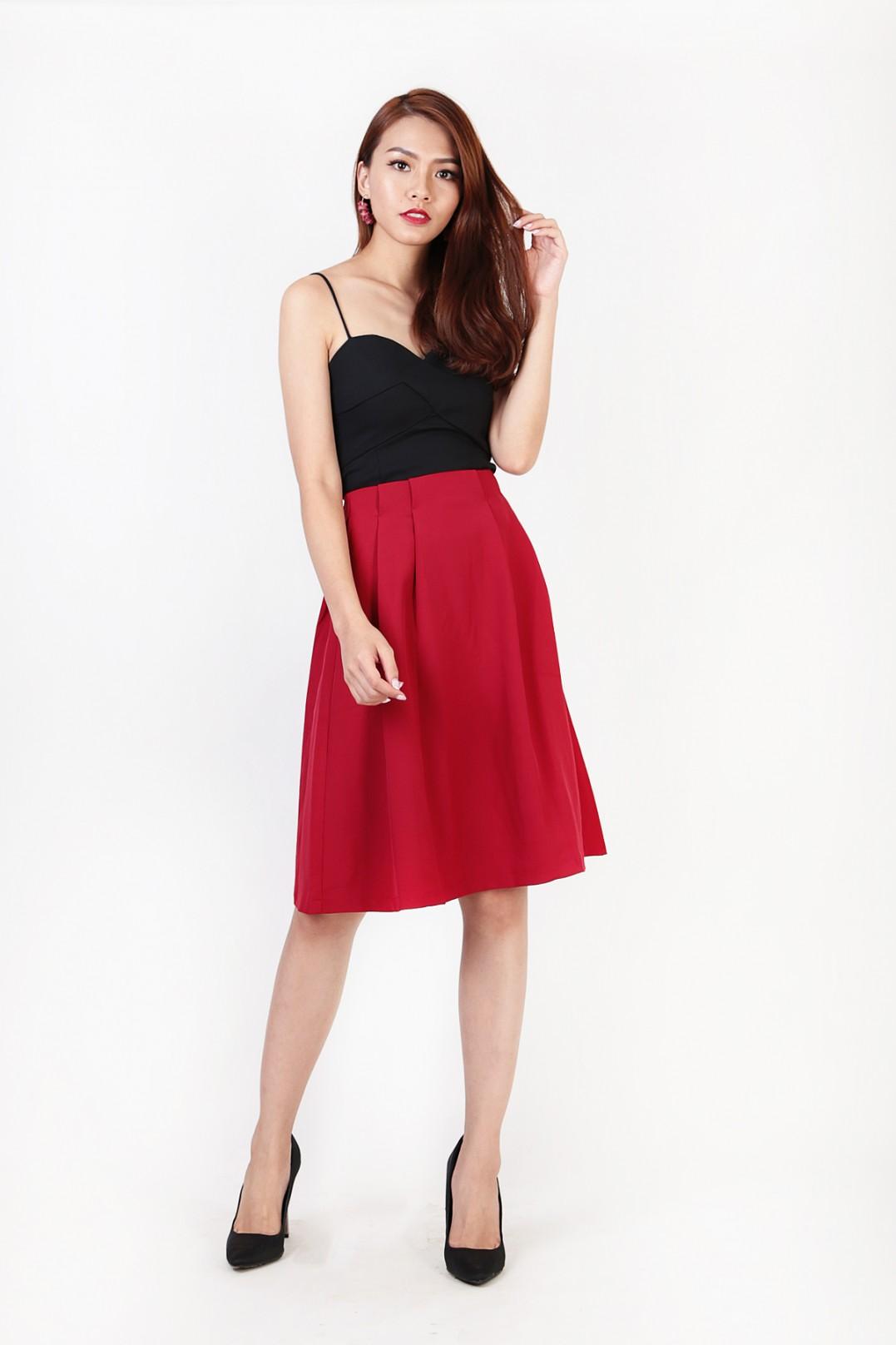642cdbd14d0 Lisa Pleated Midi Skirt in Wine Red - MGP