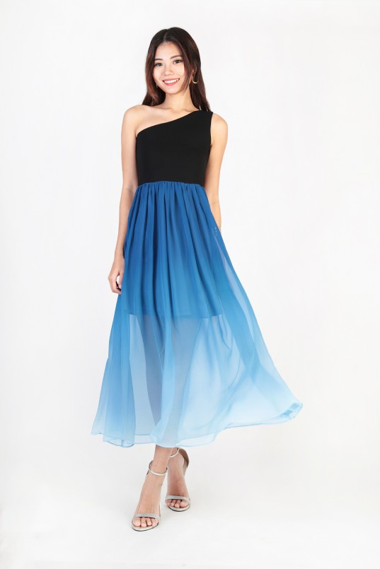 74ae0768 Rietta Ombre Toga Dress in Black-Blue · We got you all covered for your ...