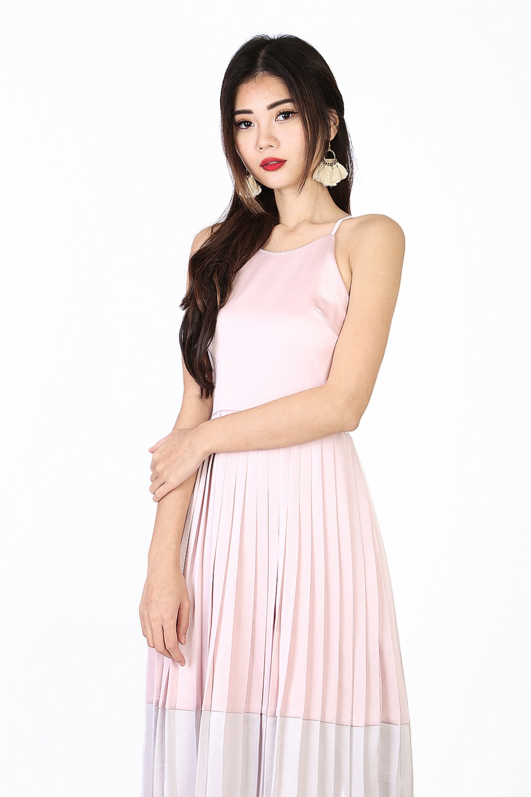 5e23acf1748 Melany Pleated Colorblock Dress in Pink - MGP