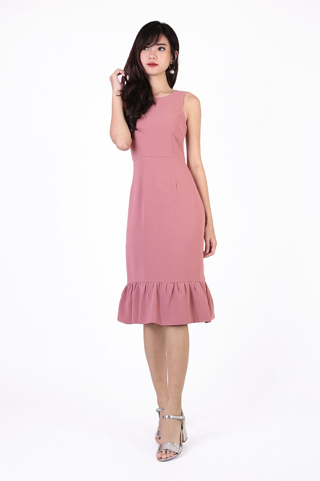 e9bd98d3737 Alana Flounce Dress in Rose Pink - MGP