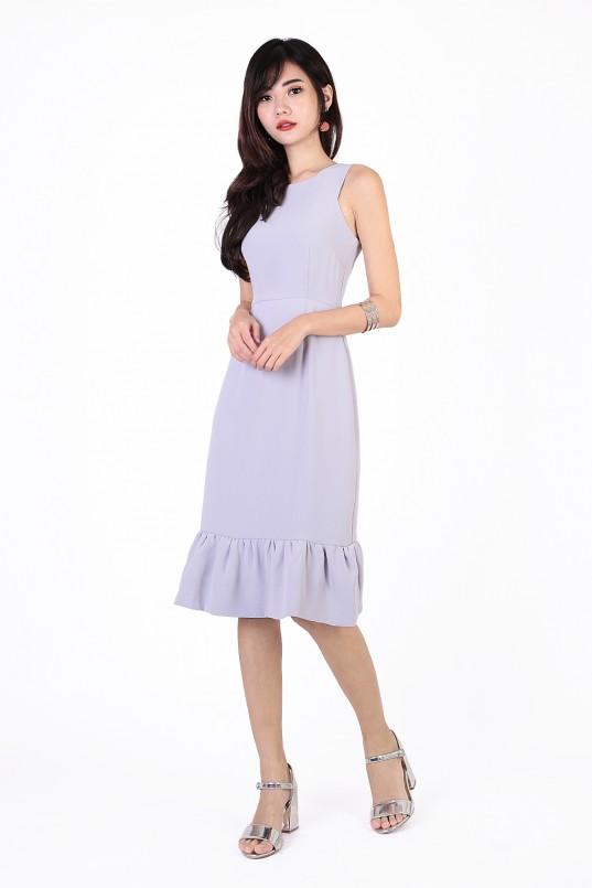 305291f8de Alana Flounce Dress in Lilac Grey