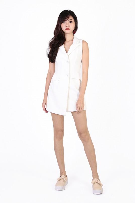 bd56348cd547 Audre Tuxedo Playsuit in White