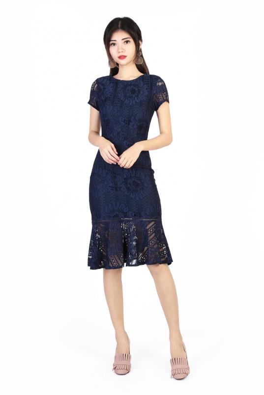 b51d1c1360 Mei Midi Lace Dress in Navy