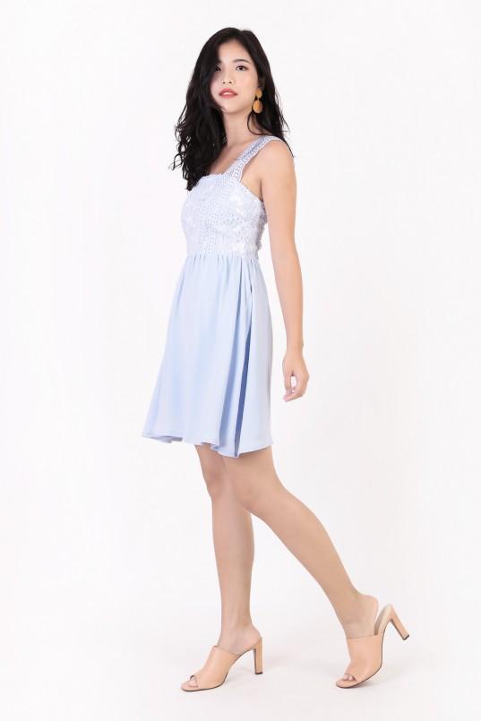 7df1669b97 Maldera Crochet Dress in Powder Blue