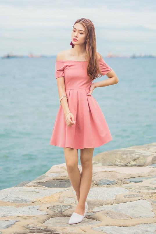 28bc43b003 Hazel Off Shoulder Flare Dress in Rose Pink
