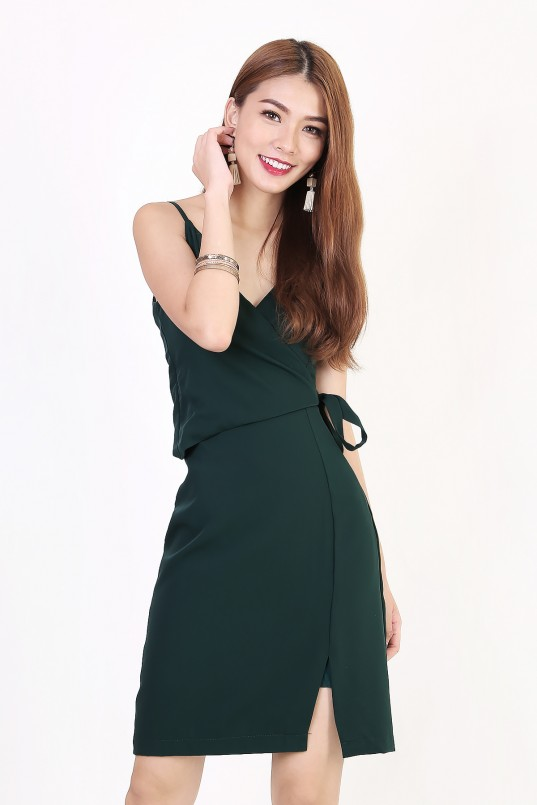 Yulissa Wrap Dress in Forest Green 38f22e68d14b