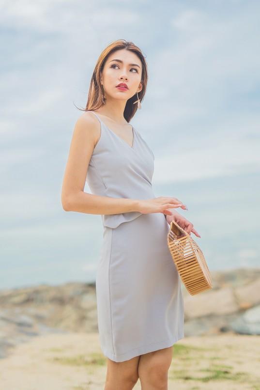 02664577da65 Yulissa Wrap Dress in Light Grey