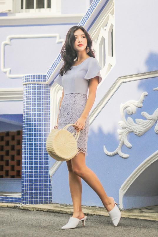 57091499e28 Bettina Eyelet Dress in Grey Lilac