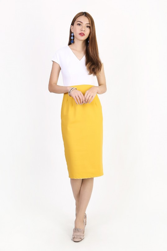 749e428bd3 Margie Colorblock Dress in Mustard Yellow