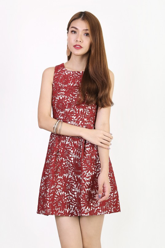 4f08d977bc Shelby Emboss Dress in Burgundy Red