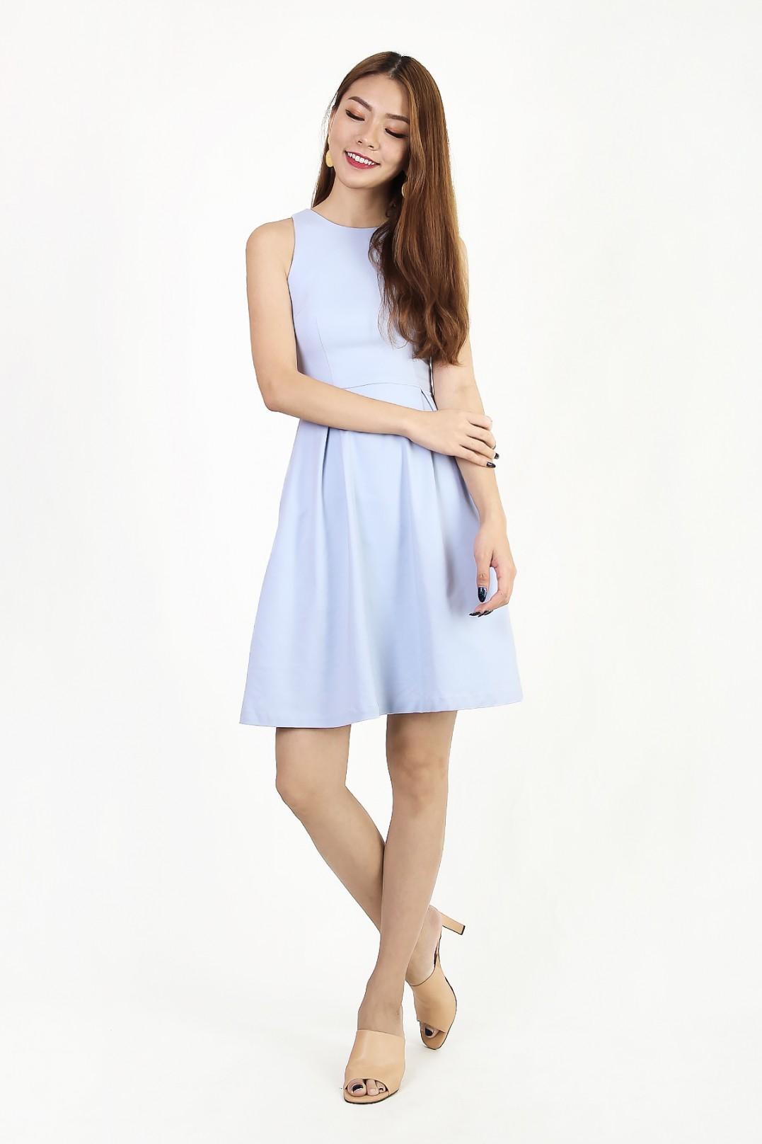 Pepper Classic Flare Dress In Powder Blue Mgp